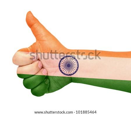 India flag on thumb up gesture like icon - stock photo