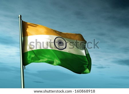 India flag waving on the wind - stock photo