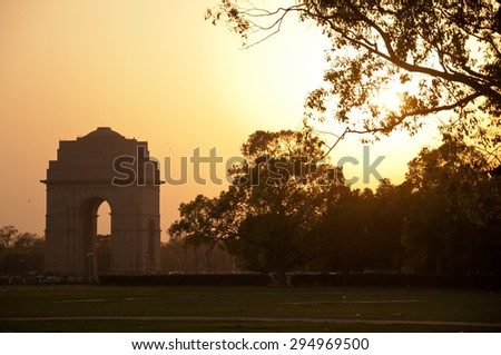India Gate in sunset, Delhi, India