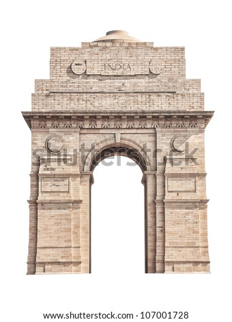 India Gate located in New Delhi isolated on white background - stock photo