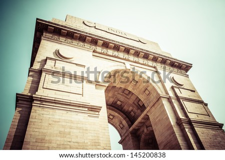 India Gate war memorial in New Delhi, India. - stock photo