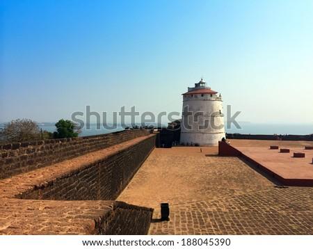 India. Goa. Aguada fort. - stock photo