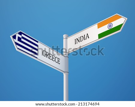 India Greece High Resolution Sign Flags Concept
