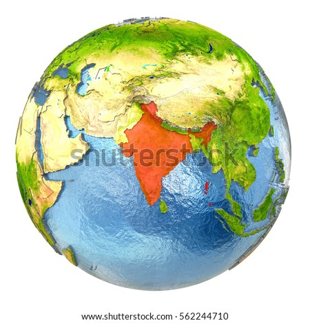 Globe india stock images royalty free images vectors shutterstock india highlighted in red on earth 3d illustration with highly detailed realistic planet surface isolated gumiabroncs Images