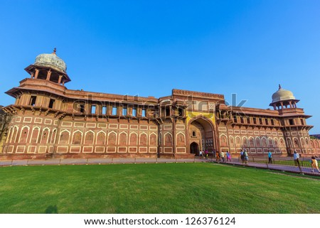 India: Jahangiri Mahal in Agra fort,  a Unesco World Heritage site, and one of the biggest tourist highlights, just 2 km of Taj Mahal. Built by several Mughal emperors from XV to XVI centuries.