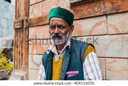 INDIA,MANALI - 11 June 2015: local person's portrait, the village of Manali. Himachal Pradesh - Himalayas