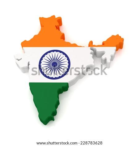 India Map isolated on white background - stock photo
