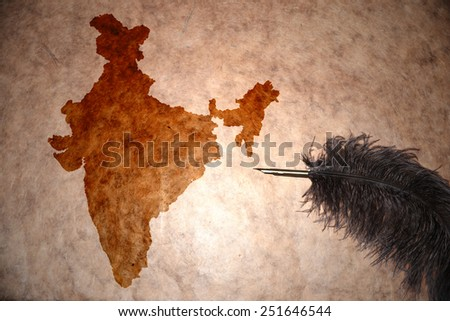 India map on vintage paper with old pen - stock photo