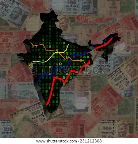 India map with hex code and graphs on Rupees illustration - stock photo