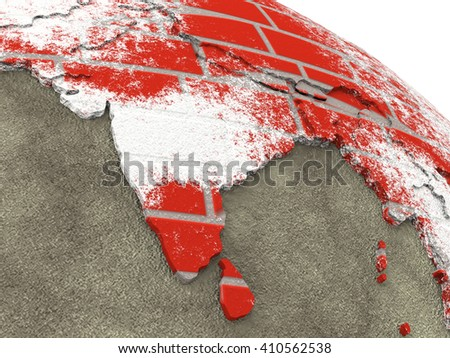 India on brick wall model of planet Earth with continents made of red bricks and oceans of wet concrete. Concept of global construction. 3D rendering. - stock photo