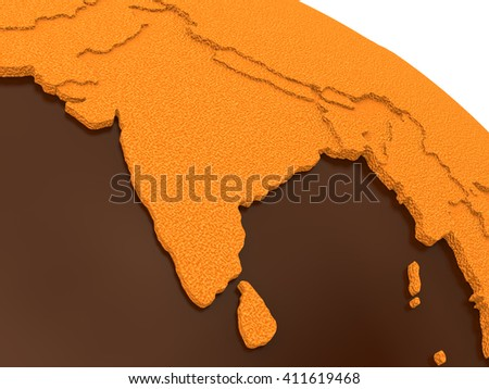 India on chocolate model of planet Earth. Sweet crusty continents with embossed countries and oceans made of dark chocolate. 3D rendering. - stock photo