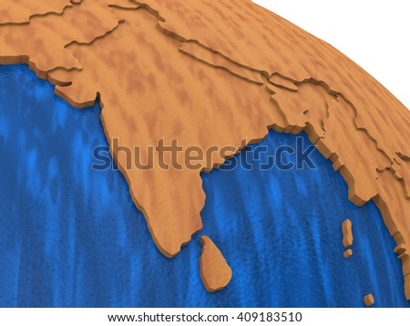 India on wooden model of planet Earth with embossed continents and visible country borders. 3D rendering. - stock photo