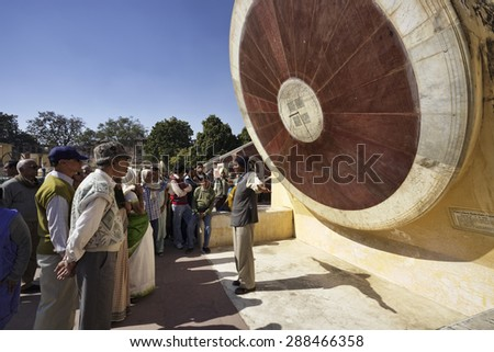 India, Rajasthan, Jaipur; 23 january 2007, people at the Astronomical Observatory (Jantar Mantar), built by Maharajah Jai Singh II in 1727-1734 - EDITORIAL - stock photo