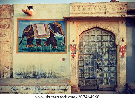 India, Rajasthan,the decoration of the facade of the house. - stock photo