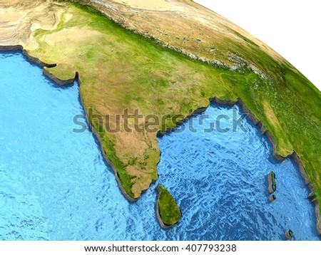 India region on detailed model of planet Earth with continents lifted above blue ocean waters. 3D Illustration. Elements of this image furnished by NASA. - stock photo