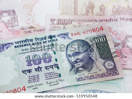 India rupee 100 banknote declared illegal. Mahatma Gandhi on Indian 100 rupee banknote.