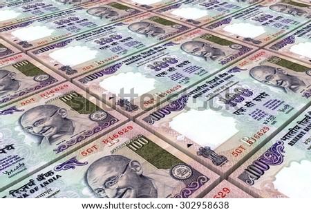 India Rupee bills stacks background. - stock photo