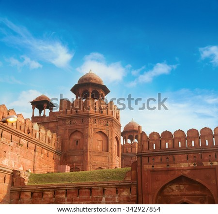 India travel tourism background - Red Fort (Lal Qila) Delhi - World Heritage Site. Delhi, India - stock photo