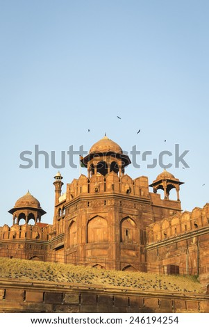 India travel tourism background - Red Fort (Lal Qila) in evening light, Delhi - World Heritage site. Delhi, India - stock photo