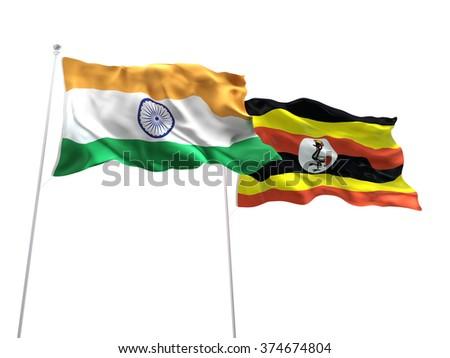 India & Uganda Flags are waving on the isolated white background - stock photo