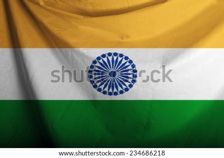 India waving flag  - stock photo