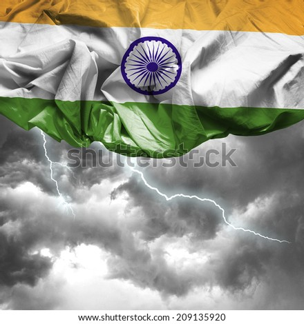 India waving flag on a bad day - stock photo