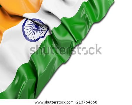 India Wavy Flag with white - stock photo