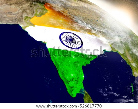 India with embedded flag on planet surface during sunrise. 3D illustration with highly detailed realistic planet surface and visible city lights. Elements of this image furnished by NASA.
