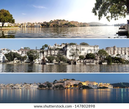 Indian architecture in Udaipur Rajasthan. Panoramic view of Pichola lake - stock photo