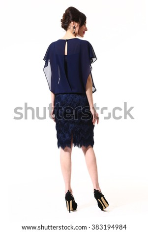 indian asian eastern brunette business executive woman with straight hair style in blue formal party cocktail dress  high heels shoes full length body portrait standing isolated on white back view - stock photo