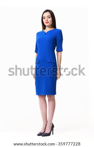 indian asian eastern brunette business executive woman with straight hair style in blue official short sleeve dress high heels shoes full length body portrait standing isolated on white - stock photo