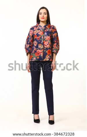 indian asian eastern brunette business executive woman with straight hair style in printed jacket and black trousers high heels shoes full length body portrait standing isolated on white - stock photo