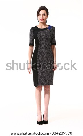 indian asian eastern brunette business executive woman with updo hair style in office short sleeve dress high heels shoes full length body portrait standing isolated on white - stock photo