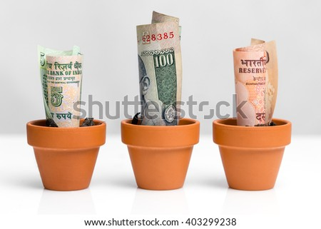indian bank notes rupee, concept growth, white background