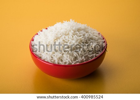 indian basmati rice, pakistani basmati rice, asian basmati rice, cooked basmati rice, cooked white rice, cooked plain rice in ceramic bowl  - stock photo