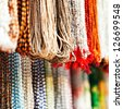 Indian beads in local market in Pushkar. Rajasthan, India, Asia - stock photo