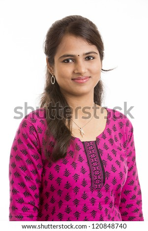 ... girl wearied Indian traditional churidar on white background. - stock