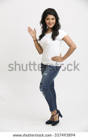 Indian beautiful woman showing gesturing on white background. - stock photo
