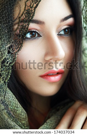 Indian beauty face close up perfect make up. Series. young beautiful brunette in traditional national dress