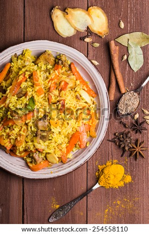Indian Biryani with chicken and spices in traditional style - stock photo