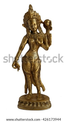 Indian bronze statue isolated on white background