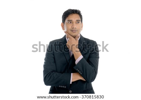 indian business male thinking - stock photo