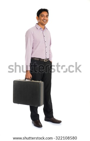 indian business male with suitcase - stock photo