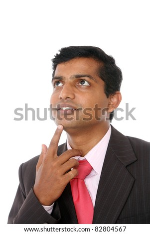 Indian business man portrait with expression isolated on white. - stock photo
