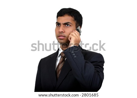 Indian Business man using cellphone (3) with clipping path - stock photo