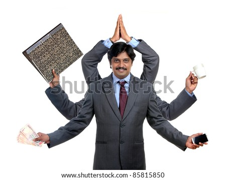 Indian business man with multy hand on white - stock photo
