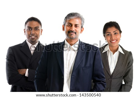 Indian business team.  Asian Indian businessmen and businesswoman in group isolated on white. Teamwork concept. Good looking Indian model. - stock photo
