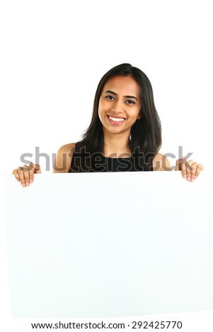 Indian Business Woman displaying white placard for your text. Isolated portrait on white.  - stock photo