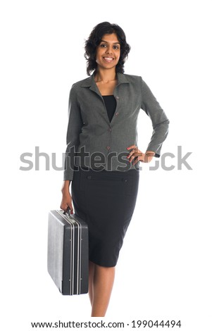 indian business woman on suitcase  isolated on white - stock photo