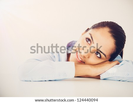 Indian business woman thinking future vintage grade - stock photo